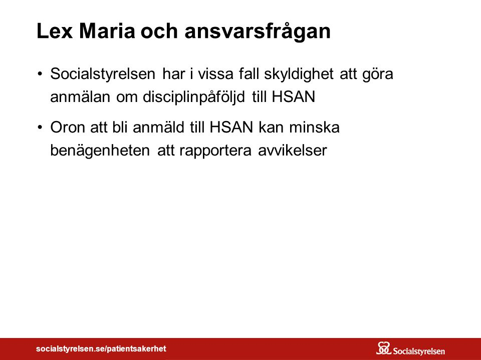 Lex Maria och ansvarsfrågan