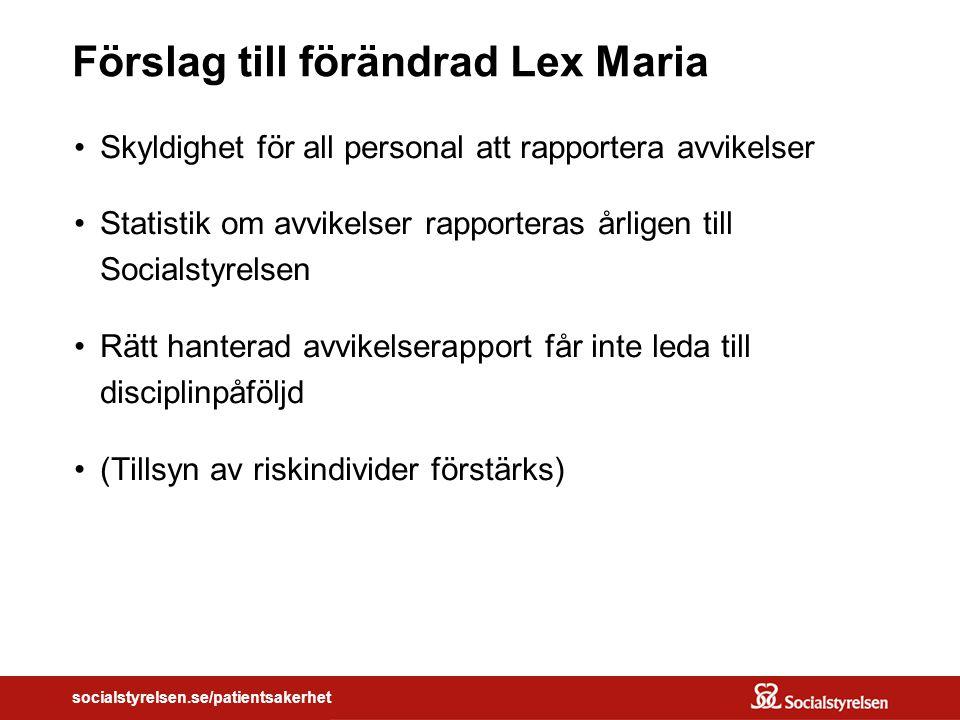 Förslag till förändrad Lex Maria