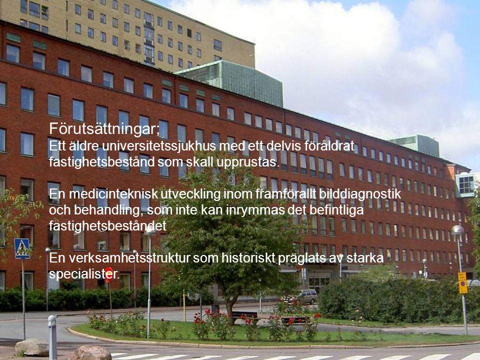 Förutsättningar; Ett äldre universitetssjukhus med ett delvis föråldrat fastighetsbestånd som skall upprustas.