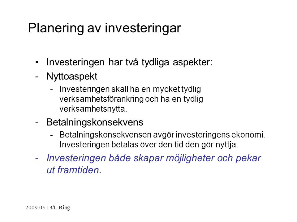 Planering av investeringar