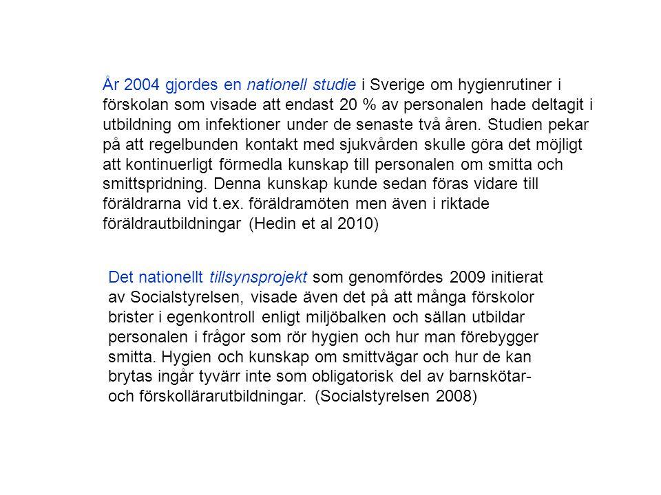 År 2004 gjordes en nationell studie i Sverige om hygienrutiner i förskolan som visade att endast 20 % av personalen hade deltagit i utbildning om infektioner under de senaste två åren. Studien pekar på att regelbunden kontakt med sjukvården skulle göra det möjligt att kontinuerligt förmedla kunskap till personalen om smitta och smittspridning. Denna kunskap kunde sedan föras vidare till föräldrarna vid t.ex. föräldramöten men även i riktade föräldrautbildningar (Hedin et al 2010)
