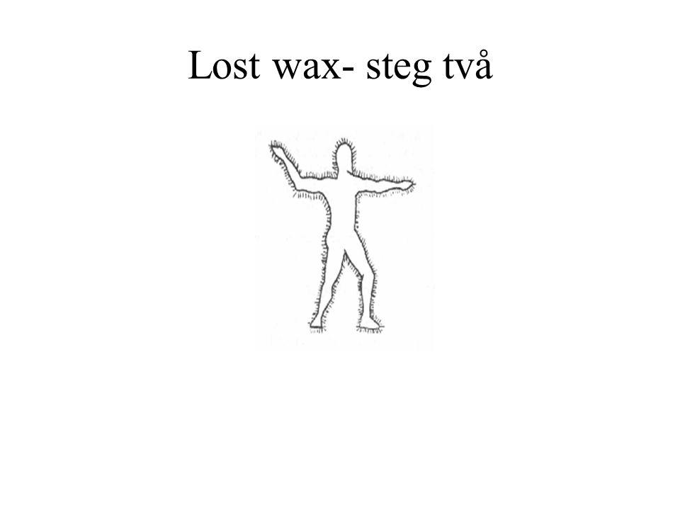 Lost wax- steg två Modellen täcks med ett lager av vax.