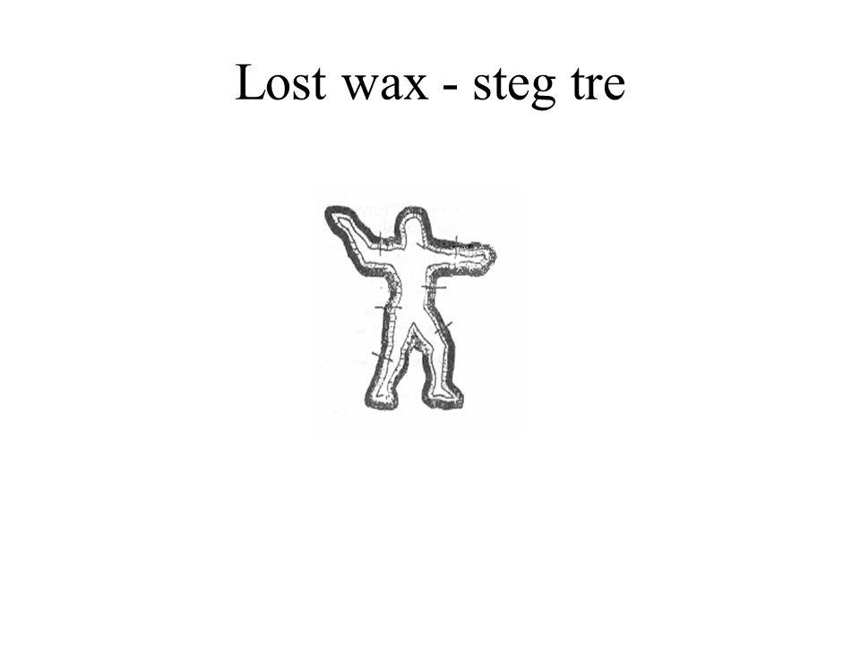 Lost wax - steg tre Vaxet täcks med ett lager av lera som hålls på plats med bultar.