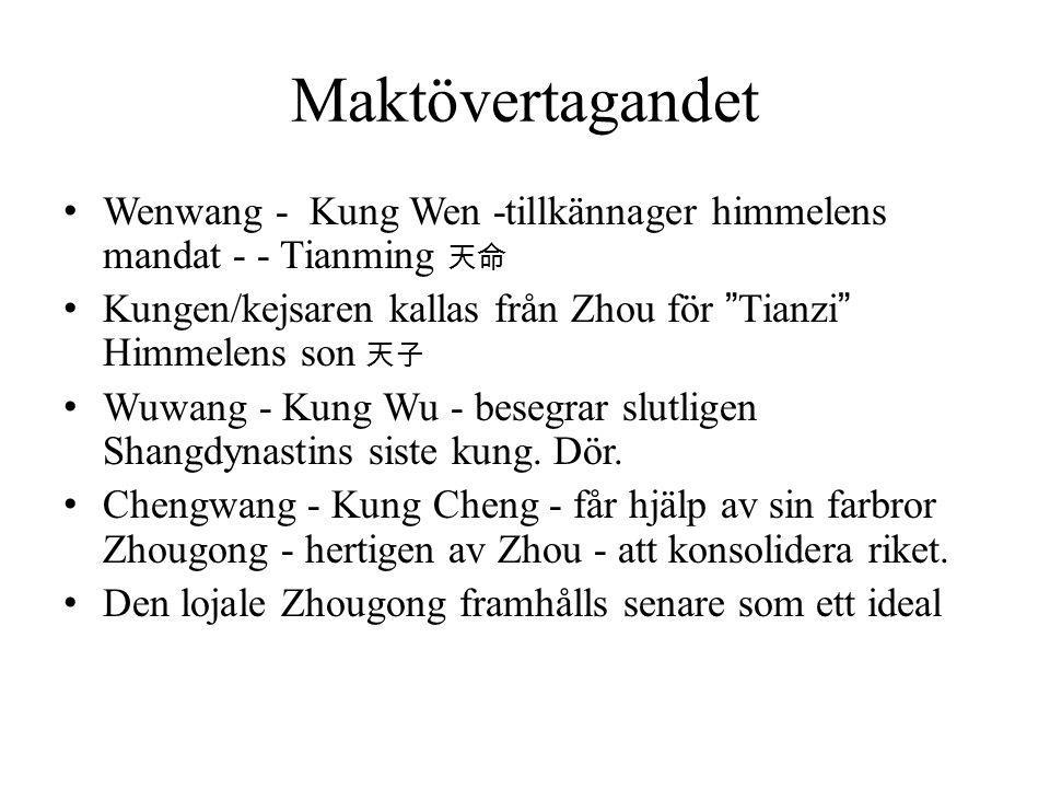 Maktövertagandet Wenwang - Kung Wen -tillkännager himmelens mandat - - Tianming 天命. Kungen/kejsaren kallas från Zhou för Tianzi Himmelens son 天子.