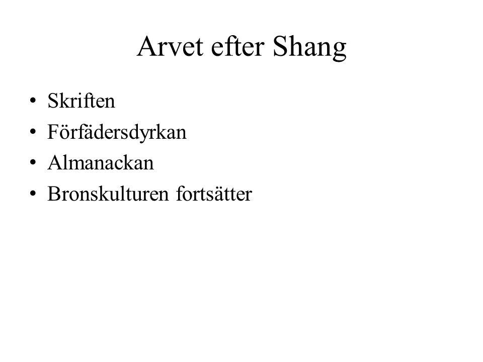 Arvet efter Shang Skriften Förfädersdyrkan Almanackan