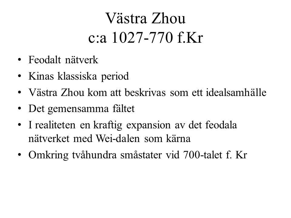 Västra Zhou c:a 1027-770 f.Kr Feodalt nätverk Kinas klassiska period