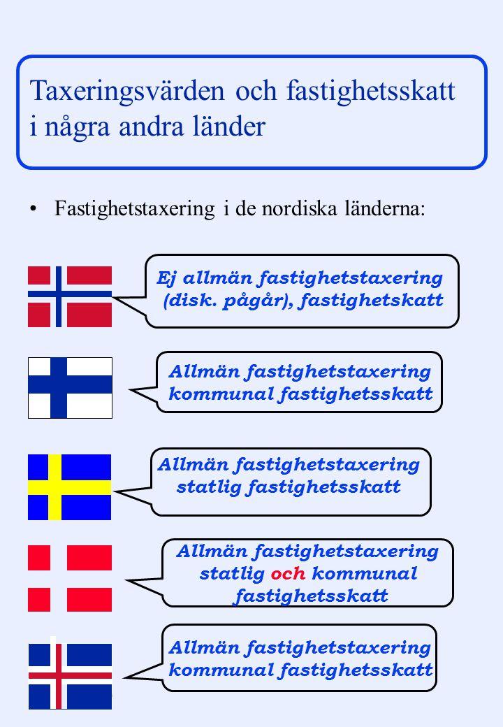 Taxeringsvärden och fastighetsskatt i några andra länder