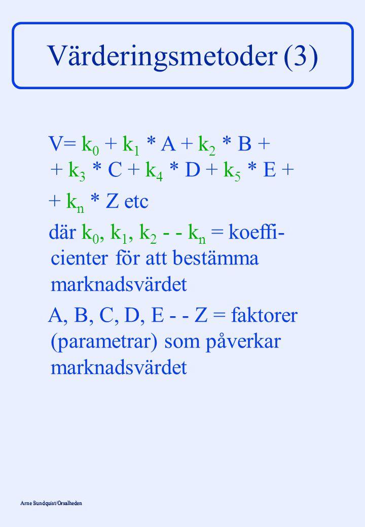 Värderingsmetoder (3) V= k0 + k1 * A + k2 * B + + k3 * C + k4 * D + k5 * E + + kn * Z etc.