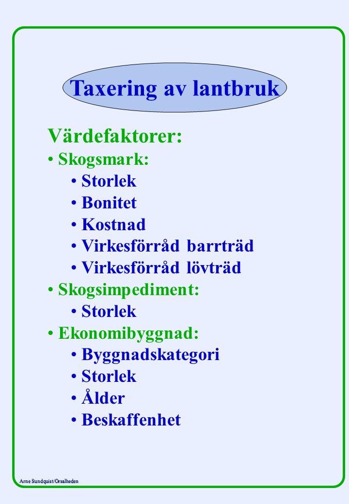 Taxering av lantbruk Värdefaktorer: Skogsmark: Storlek Bonitet Kostnad