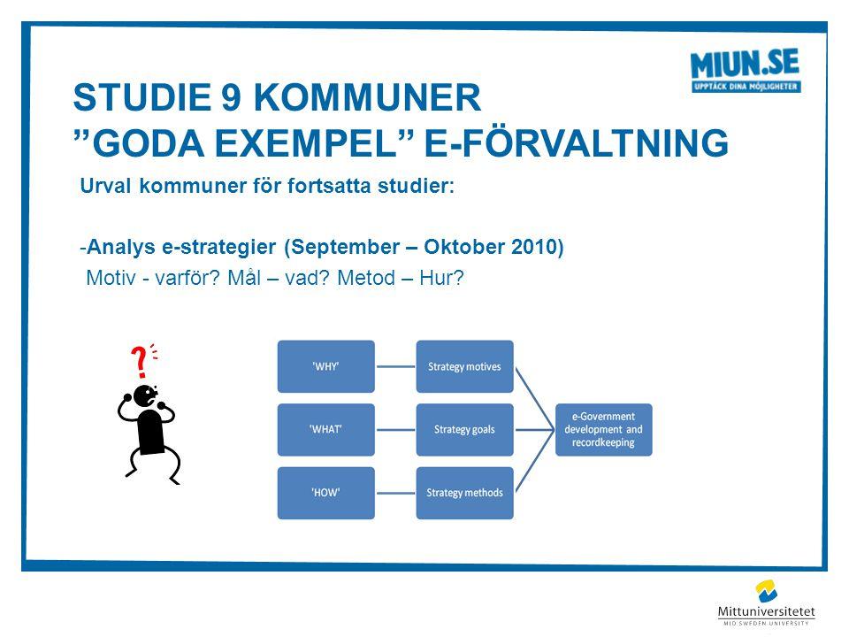 Studie 9 kommuner Goda Exempel e-förvaltning