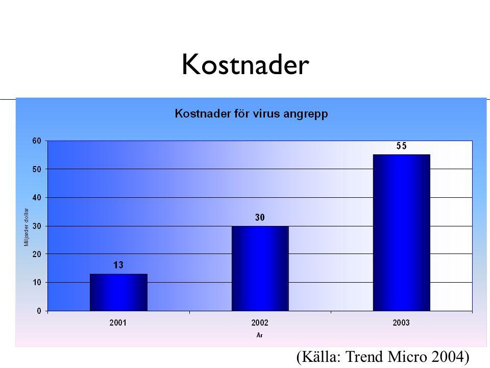 Kostnader (Källa: Trend Micro 2004)