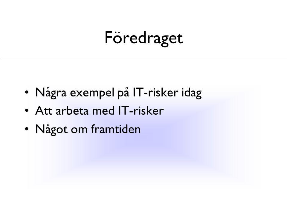 Föredraget Några exempel på IT-risker idag Att arbeta med IT-risker