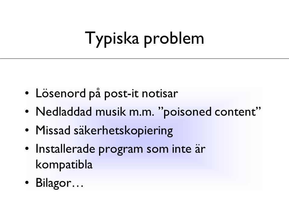 Typiska problem Lösenord på post-it notisar