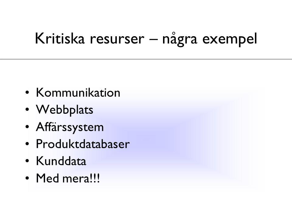 Kritiska resurser – några exempel