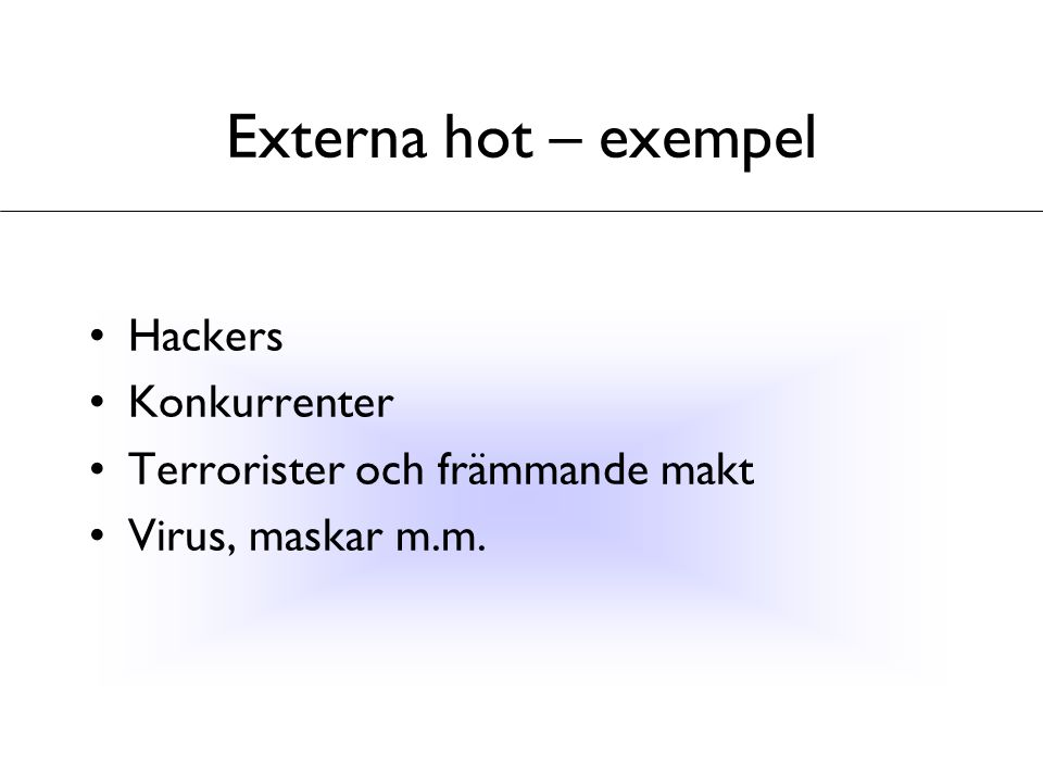 Externa hot – exempel Hackers Konkurrenter