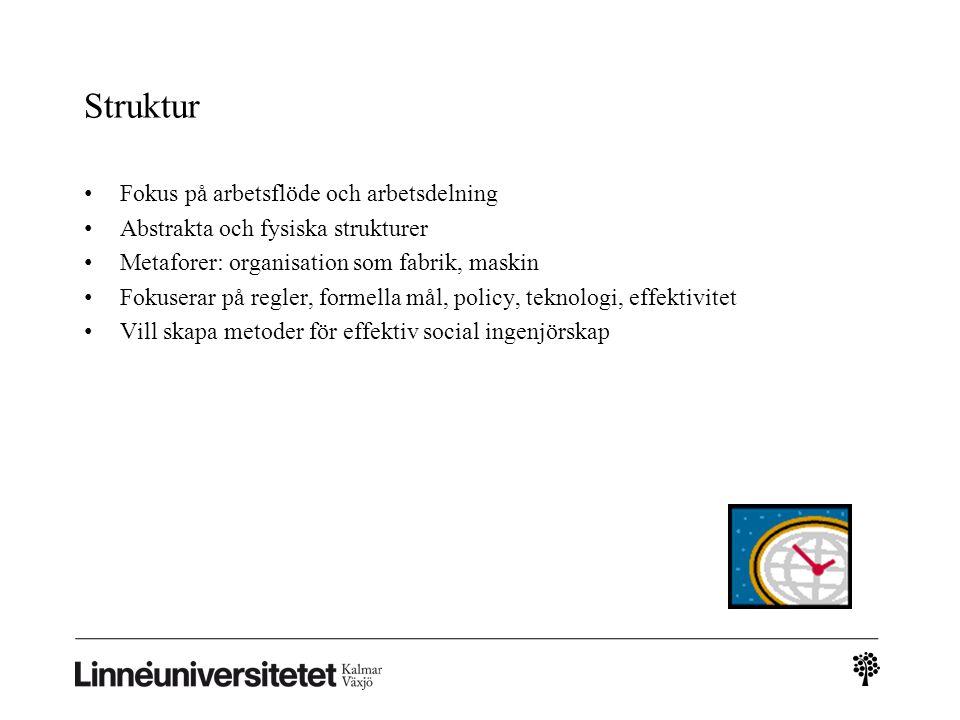 Struktur Fokus på arbetsflöde och arbetsdelning