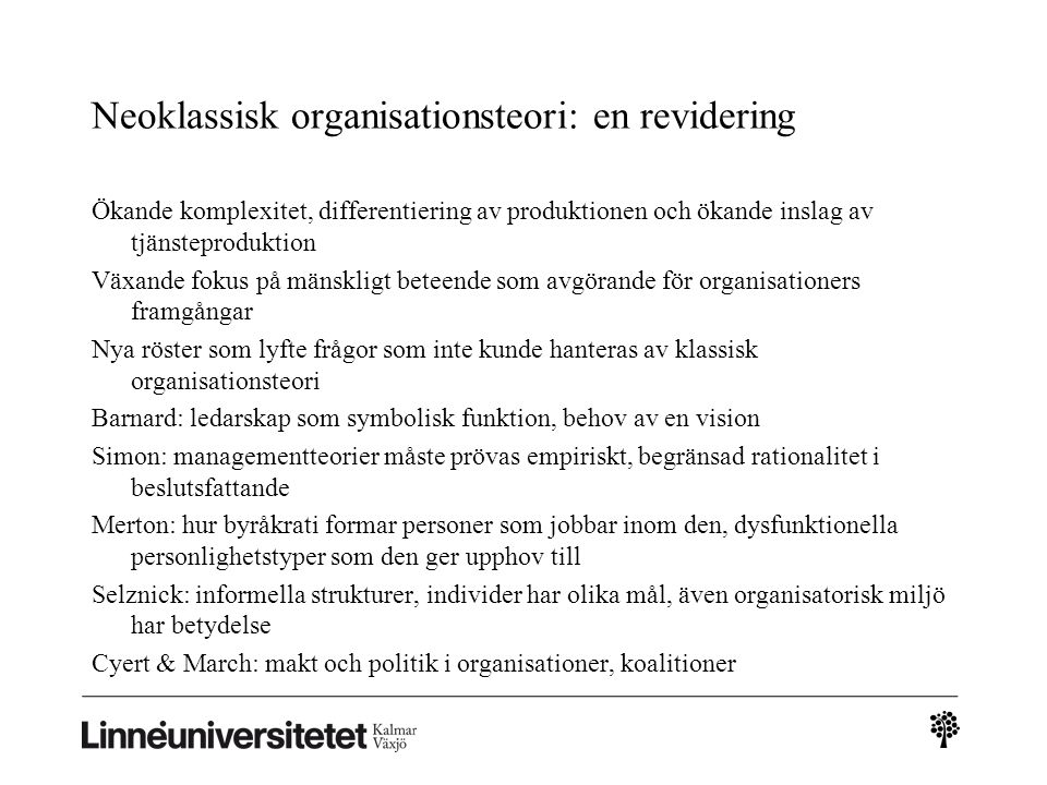 Neoklassisk organisationsteori: en revidering