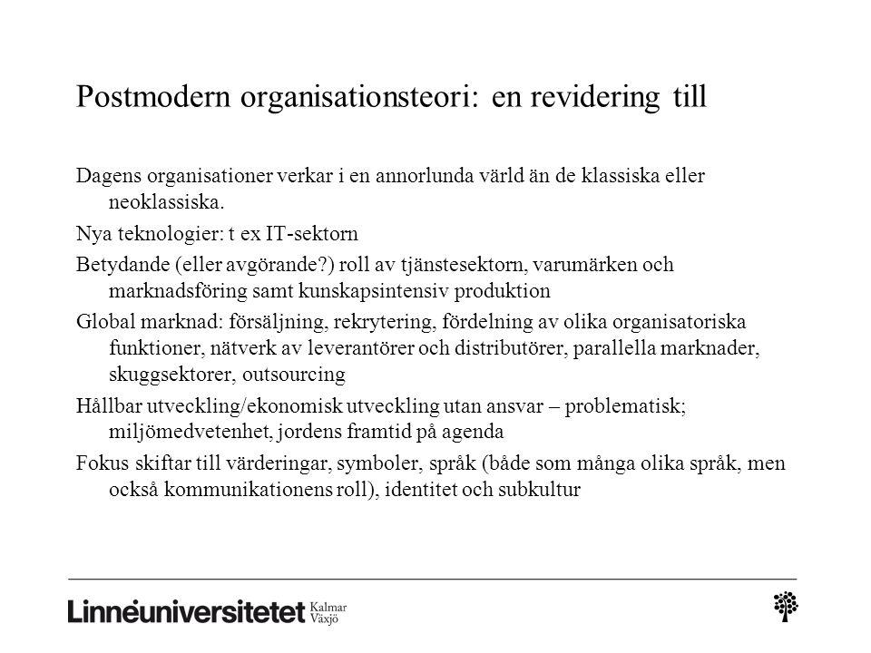 Postmodern organisationsteori: en revidering till