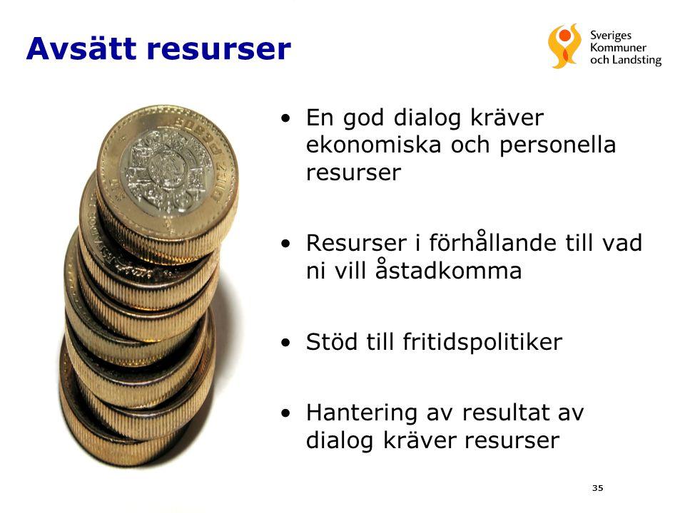 Avsätt resurser En god dialog kräver ekonomiska och personella resurser. Resurser i förhållande till vad ni vill åstadkomma.