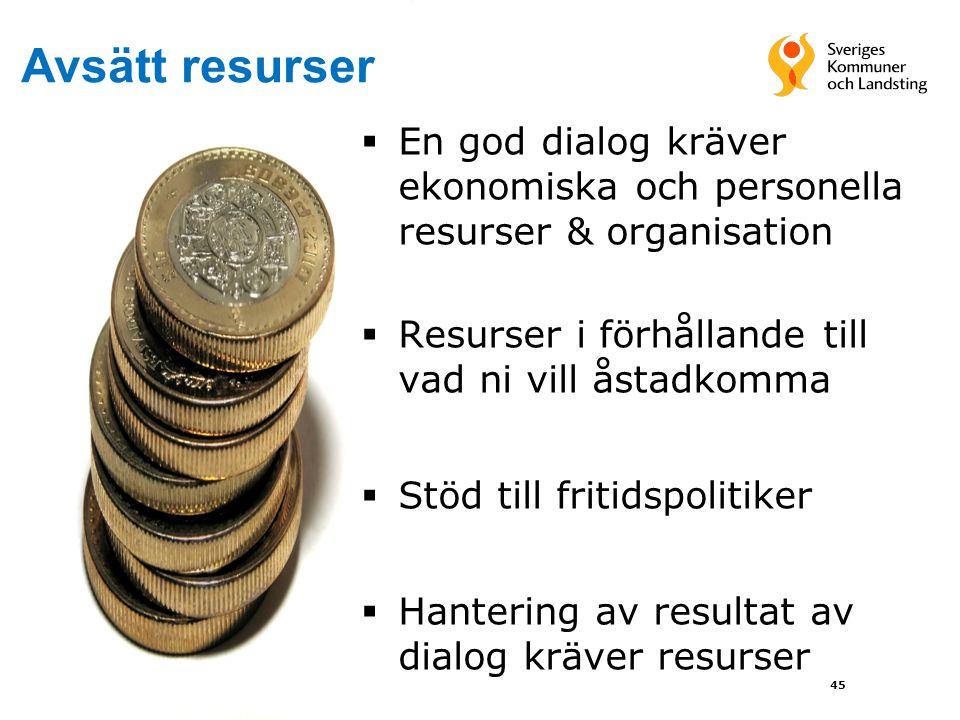 Avsätt resurser En god dialog kräver ekonomiska och personella resurser & organisation. Resurser i förhållande till vad ni vill åstadkomma.