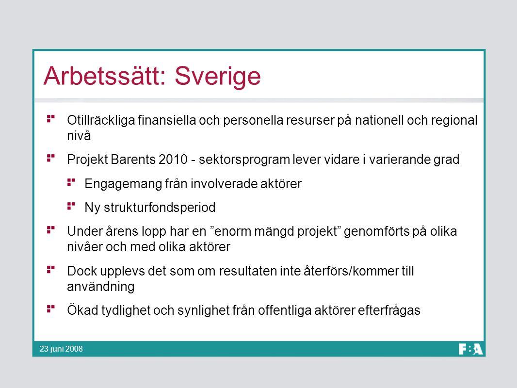 Arbetssätt: Sverige Otillräckliga finansiella och personella resurser på nationell och regional nivå.