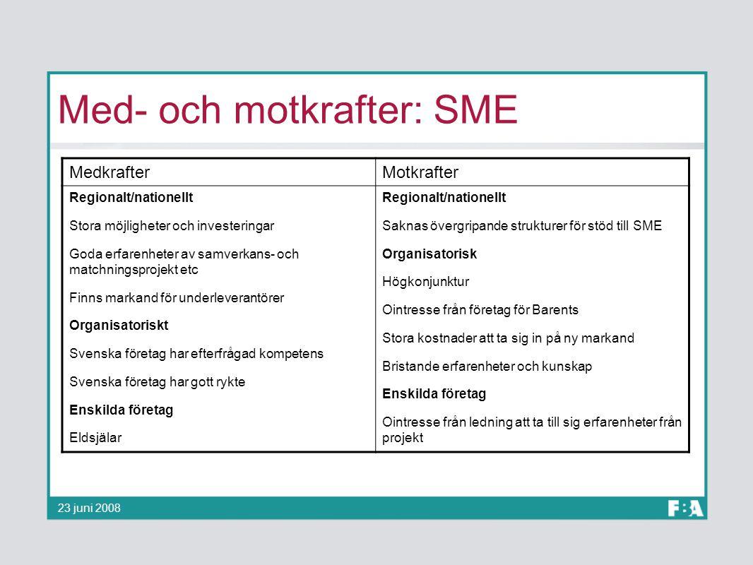 Med- och motkrafter: SME