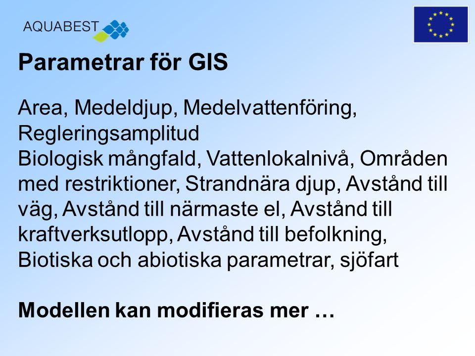 Parametrar för GIS Area, Medeldjup, Medelvattenföring, Regleringsamplitud.