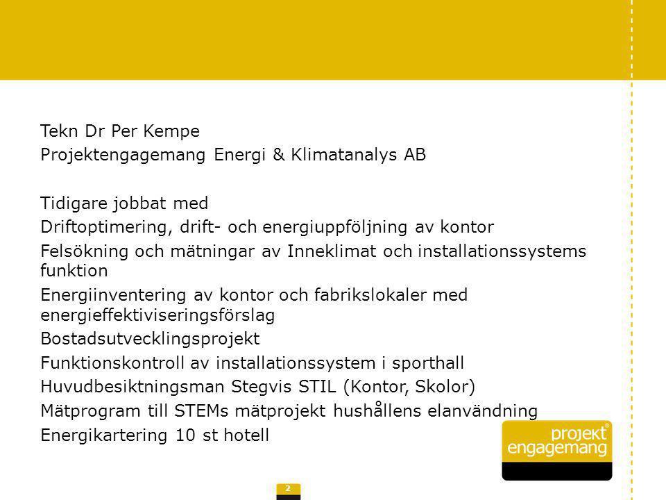 Tekn Dr Per Kempe Projektengagemang Energi & Klimatanalys AB Tidigare jobbat med Driftoptimering, drift- och energiuppföljning av kontor Felsökning och mätningar av Inneklimat och installationssystems funktion Energiinventering av kontor och fabrikslokaler med energieffektiviseringsförslag Bostadsutvecklingsprojekt Funktionskontroll av installationssystem i sporthall Huvudbesiktningsman Stegvis STIL (Kontor, Skolor) Mätprogram till STEMs mätprojekt hushållens elanvändning Energikartering 10 st hotell