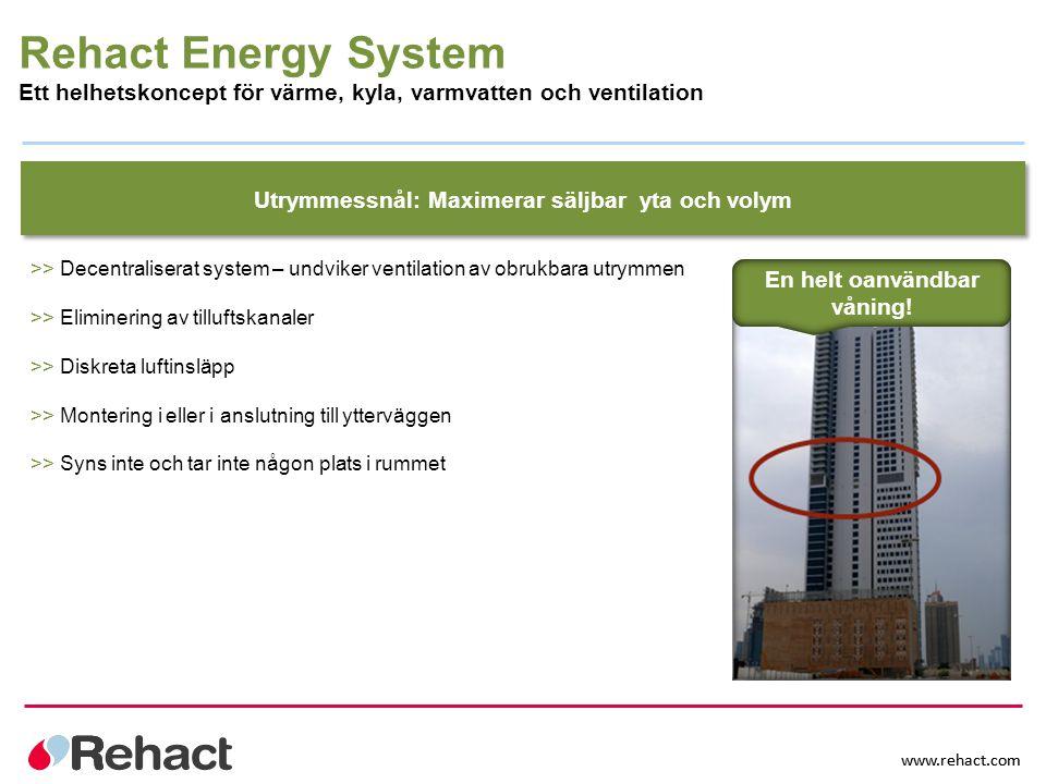 Rehact Energy System Ett helhetskoncept för värme, kyla, varmvatten och ventilation. Utrymmessnål: Maximerar säljbar yta och volym.