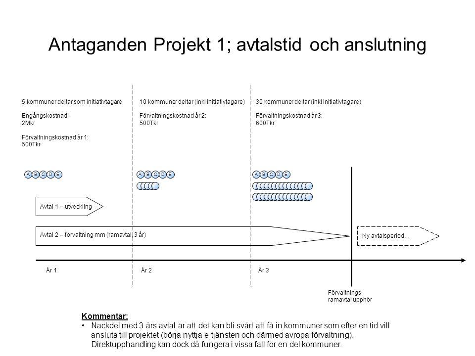 Antaganden Projekt 1; avtalstid och anslutning