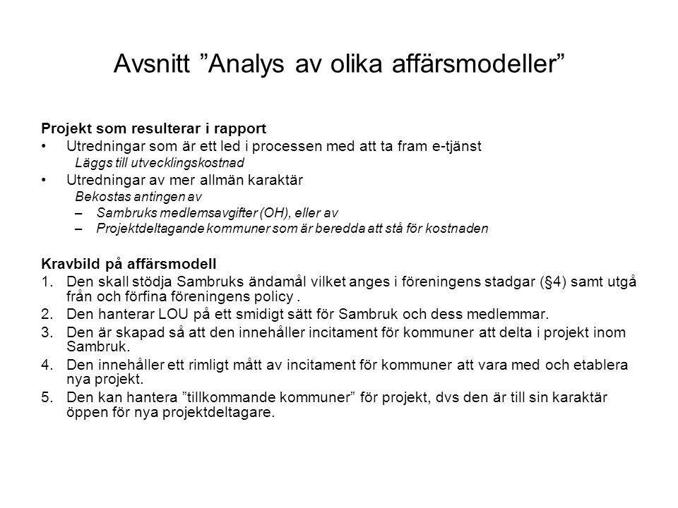 Avsnitt Analys av olika affärsmodeller