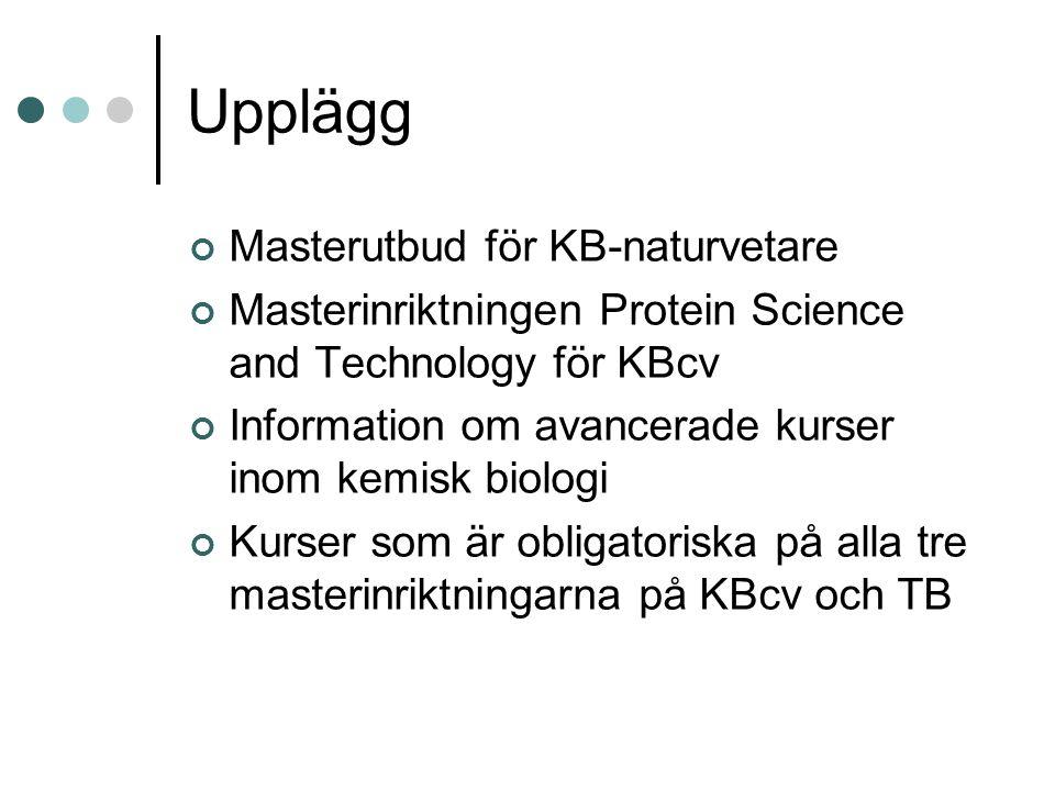 Upplägg Masterutbud för KB-naturvetare