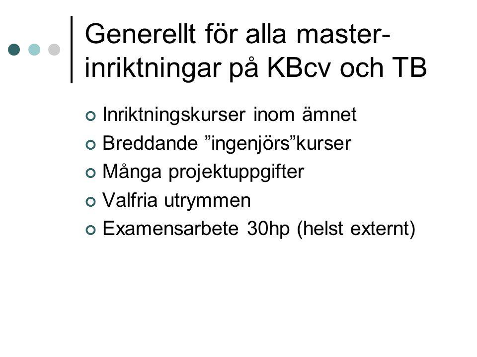 Generellt för alla master-inriktningar på KBcv och TB