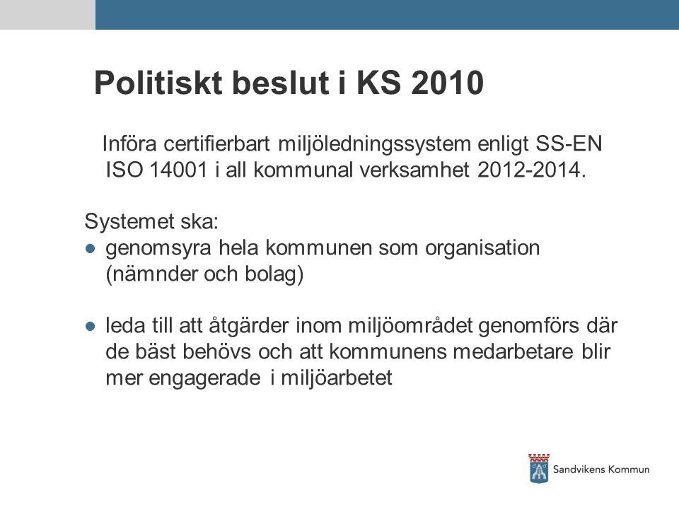 Politiskt beslut i KS 2010 Införa certifierbart miljöledningssystem enligt SS-EN ISO 14001 i all kommunal verksamhet 2012-2014.
