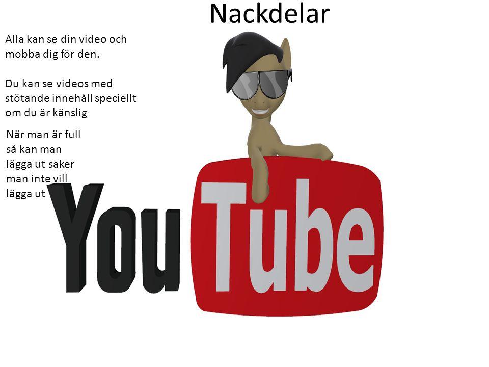 Nackdelar Alla kan se din video och mobba dig för den.