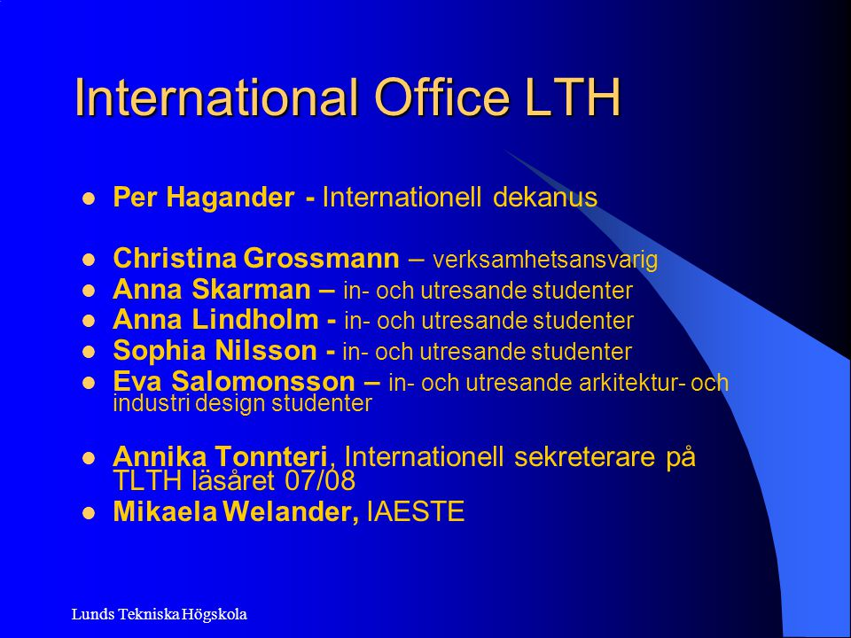 International Office LTH