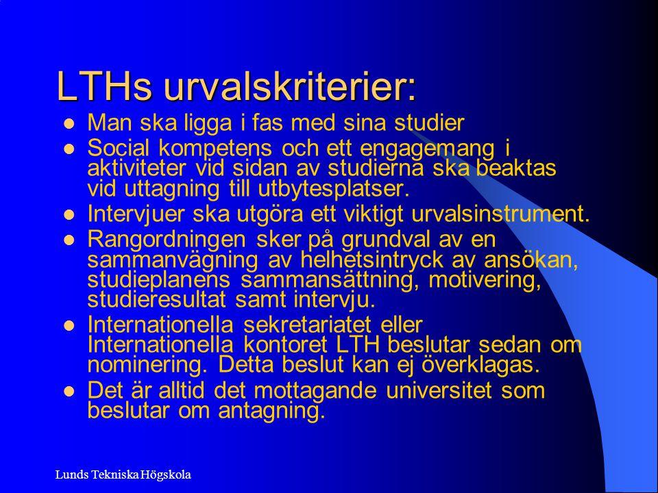 LTHs urvalskriterier: