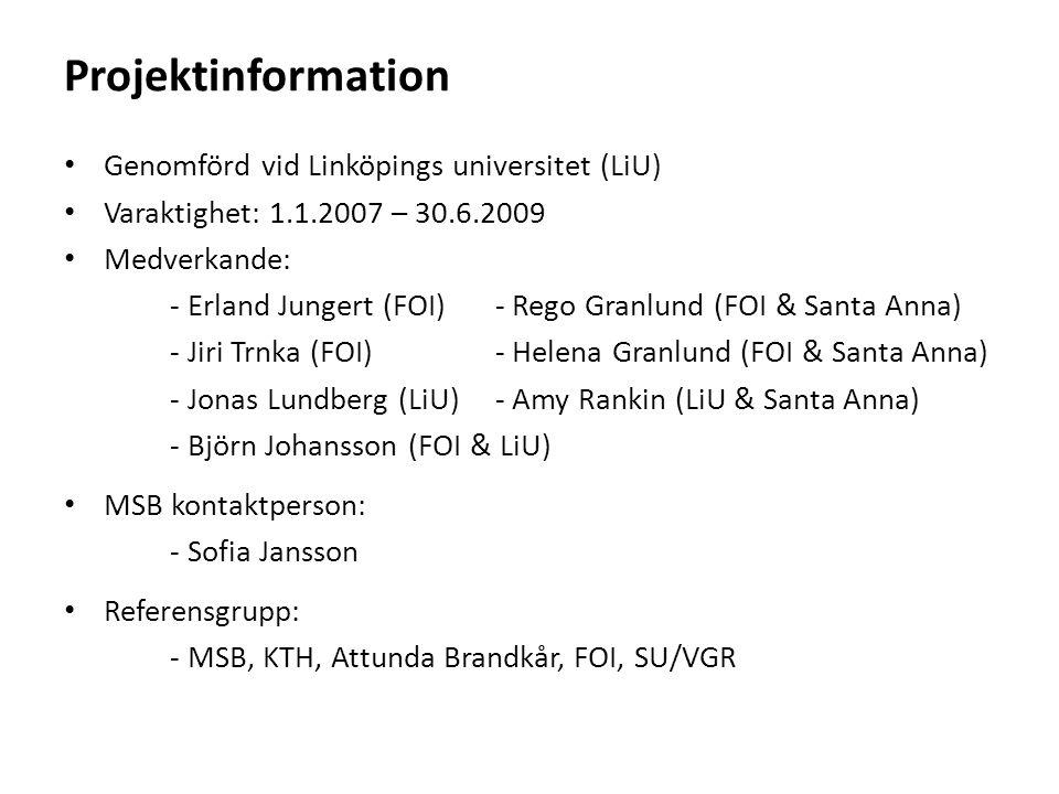 Projektinformation Genomförd vid Linköpings universitet (LiU)