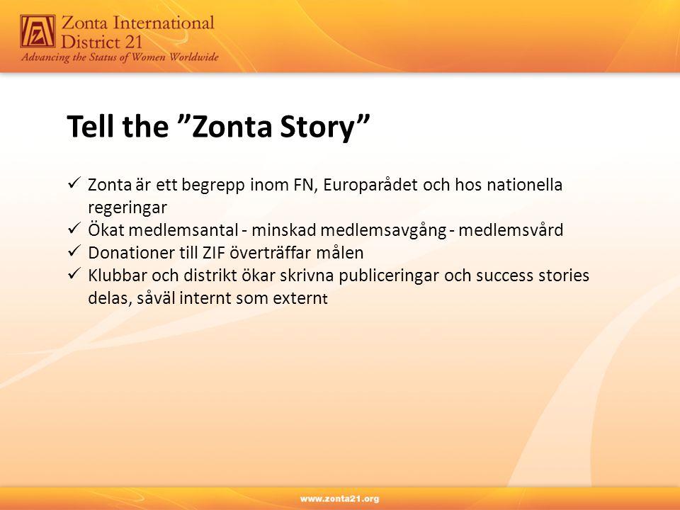 Tell the Zonta Story Zonta är ett begrepp inom FN, Europarådet och hos nationella regeringar.