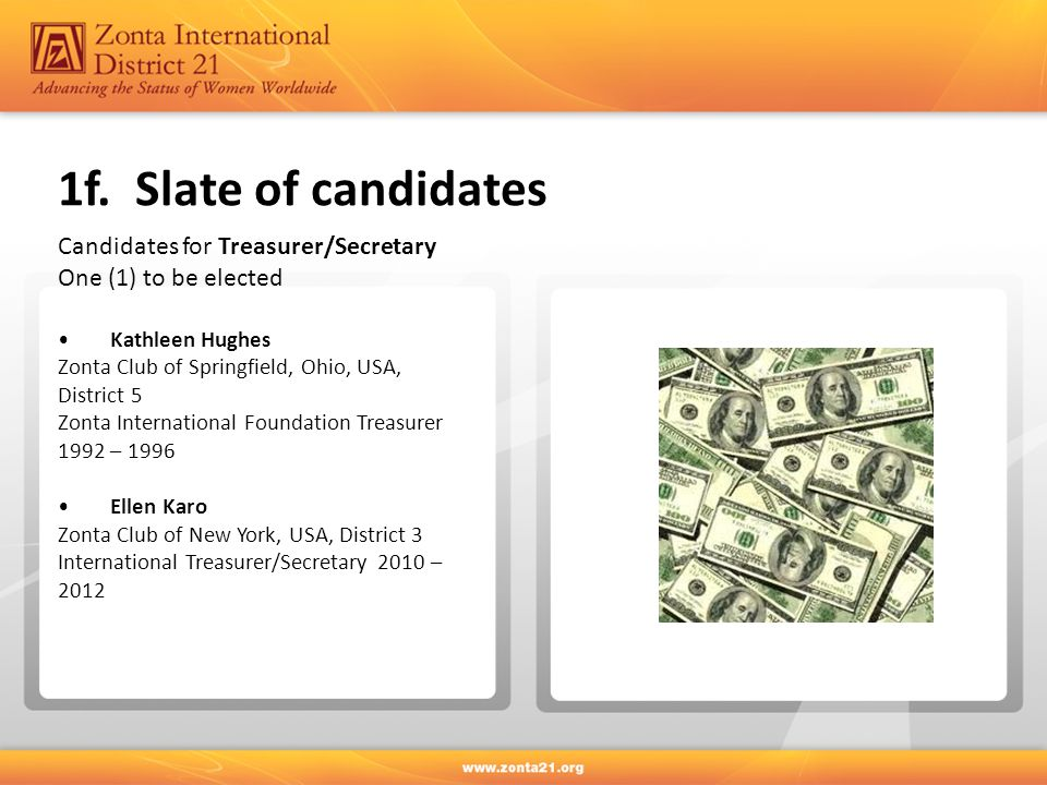 1f. Slate of candidates Candidates for Treasurer/Secretary