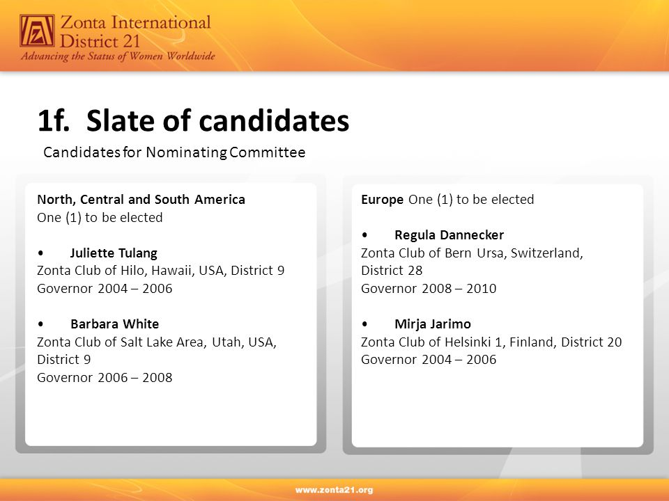 1f. Slate of candidates Candidates for Nominating Committee