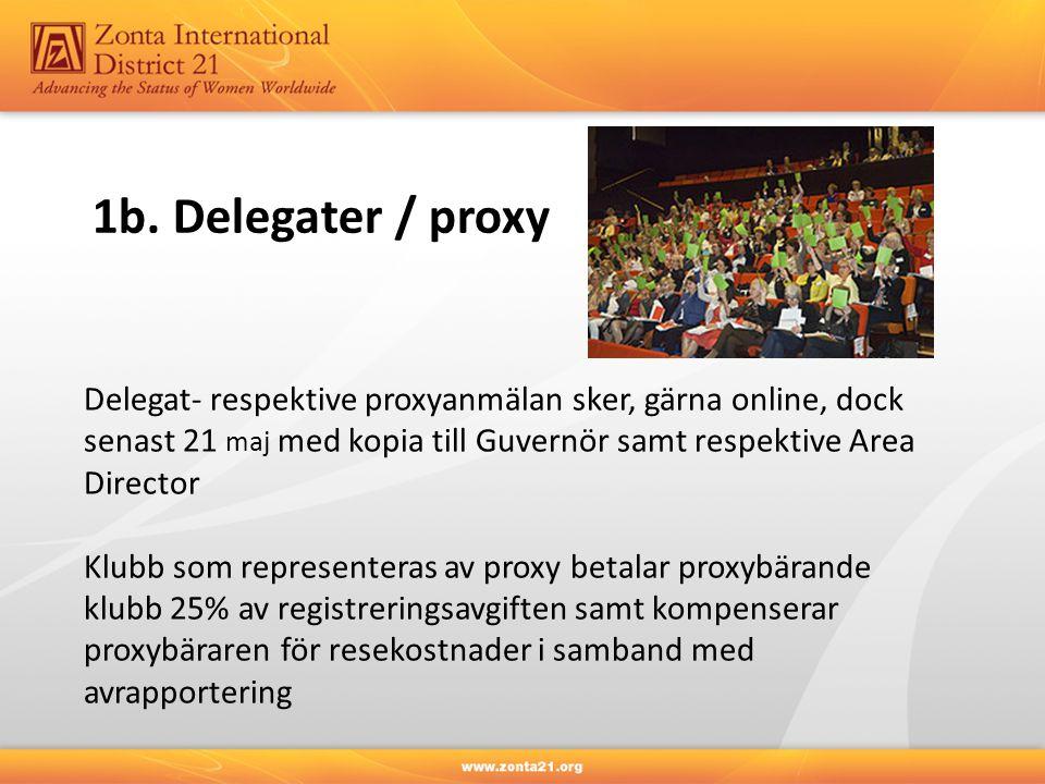 1b. Delegater / proxy Delegat- respektive proxyanmälan sker, gärna online, dock senast 21 maj med kopia till Guvernör samt respektive Area Director.