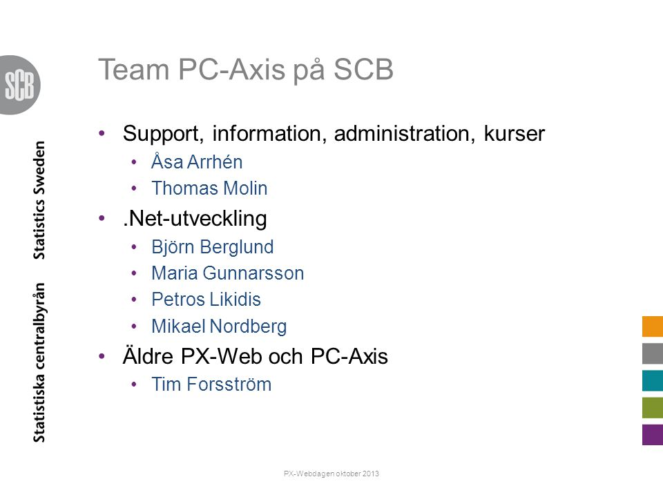 Team PC-Axis på SCB Support, information, administration, kurser