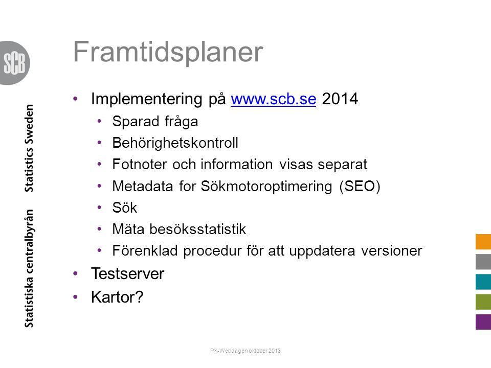 Framtidsplaner Implementering på www.scb.se 2014 Testserver Kartor
