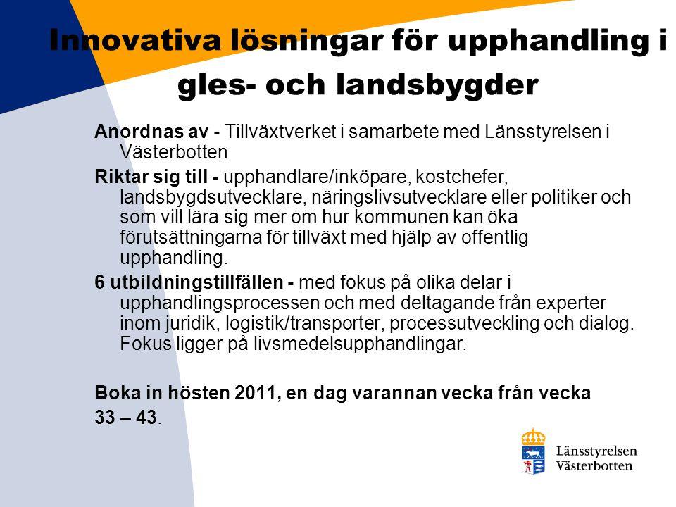 Innovativa lösningar för upphandling i gles- och landsbygder