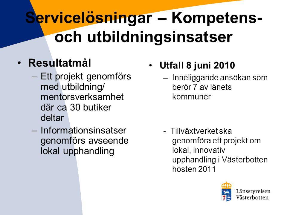 Servicelösningar – Kompetens- och utbildningsinsatser