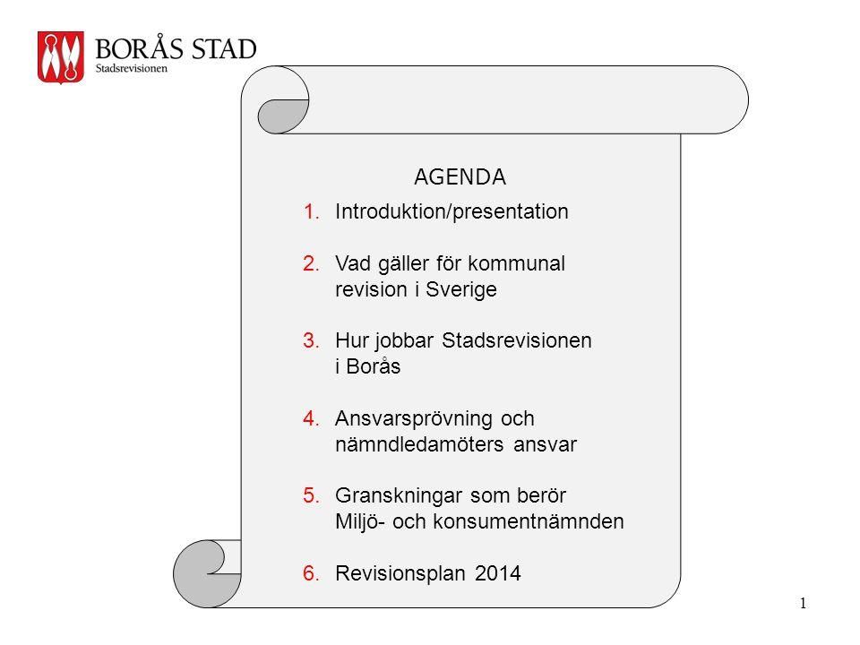 AGENDA Introduktion/presentation. Vad gäller för kommunal revision i Sverige. Hur jobbar Stadsrevisionen i Borås.
