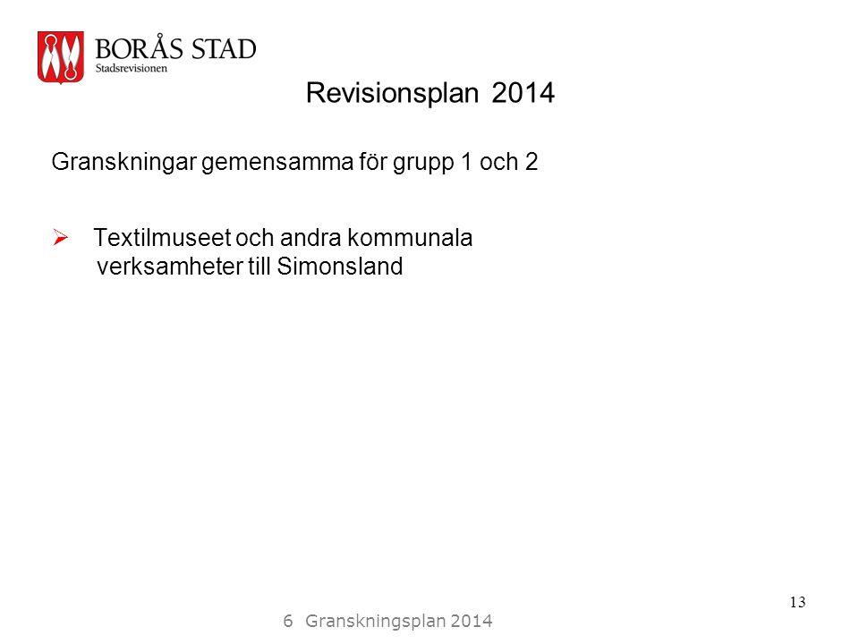 Revisionsplan 2014 Granskningar gemensamma för grupp 1 och 2