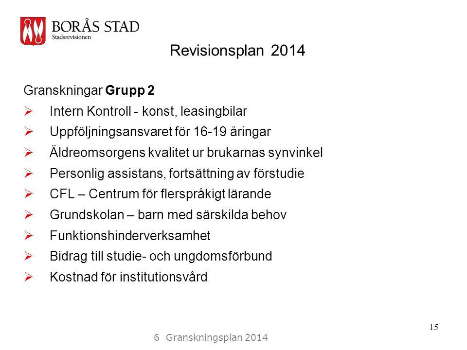 Revisionsplan 2014 Granskningar Grupp 2