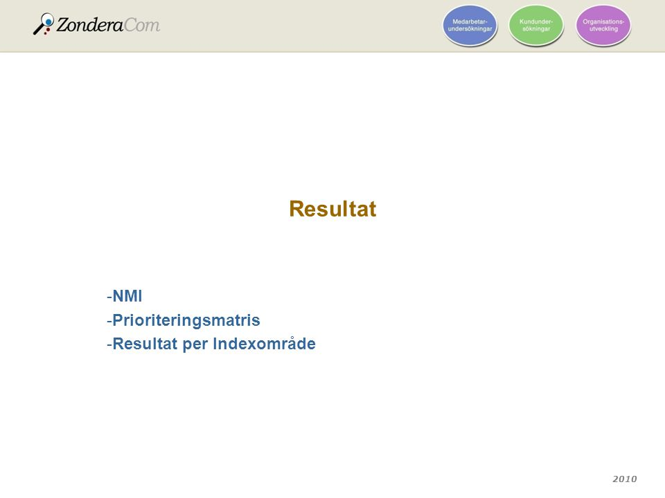NMI Prioriteringsmatris Resultat per Indexområde
